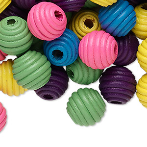 bead mix, wood, multicolored, 16x15mm fluted round. sold per 400-gram pkg, approximately 400 beads.