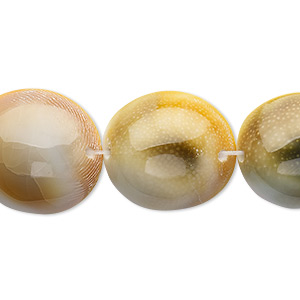 bead, moon shell (natural), 19-20mm flat-sided round, mohs hardness 3-1/2. sold per 15-inch strand.