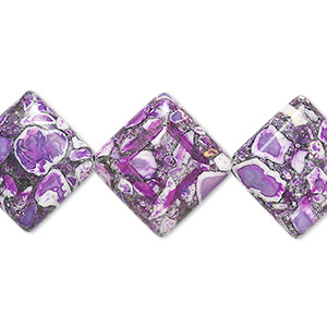 bead, mosaic stone (assembled / dyed), purple / black / white, 18x18mm flat diamond, mohs hardness 5 to 6. sold per 16-inch strand.