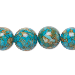 bead, mosaic turquoise (dyed / assembled), blue, 14mm round, mohs hardness 3-1/2 to 4. sold per 16-inch strand.