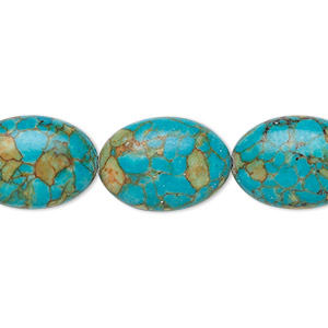 bead, mosaic turquoise (dyed / assembled), blue, 18x13mm oval, mohs hardness 3-1/2 to 4. sold per 16-inch strand.