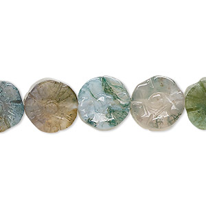 bead, moss agate (natural), 12mm carved flower, b grade, mohs hardness 6-1/2 to 7. sold per 16-inch strand.