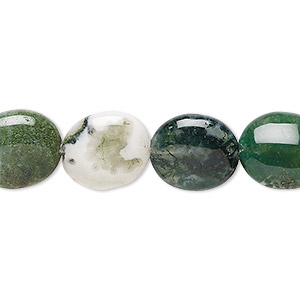 bead, moss agate (natural), 14x12mm flat oval, b grade, mohs hardness 6-1/2 to 7. sold per 16-inch strand.