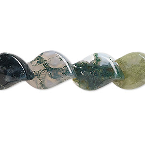 bead, moss agate (natural), 16x12mm-20x15mm leaf, b grade, mohs hardness 6-1/2 to 7. sold per 16-inch strand.