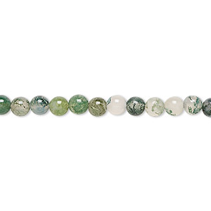 bead, moss agate (natural), 4mm round, b grade, mohs hardness 6-1/2 to 7. sold per 16-inch strand.