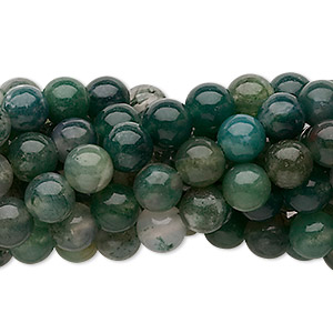 bead, moss agate (natural), 6mm round, c grade, mohs hardness 6-1/2 to 7. sold per pkg of (10) 16-inch strands.