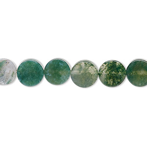 bead, moss agate (natural), 8mm flat round, b grade, mohs hardness 6-1/2 to 7. sold per 16-inch strand.