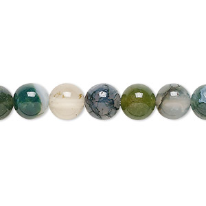 bead, moss agate (natural), 8mm round, b grade, mohs hardness 6-1/2 to 7. sold per 16-inch strand.