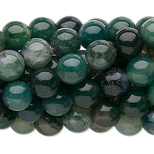 bead, moss agate (natural), 8mm round, c grade, mohs hardness 6-1/2 to 7. sold per pkg of (10) 16-inch strands.