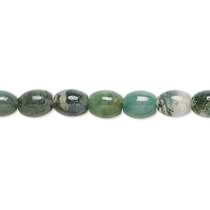 bead, moss agate (natural), 8x6mm oval, b grade, mohs hardness 6-1/2 to 7. sold per 16-inch strand.