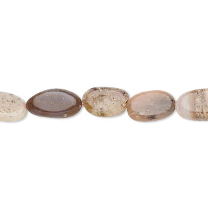 bead, moss opal and pink opal (natural), 8x6mm-13x7mm hand-cut flat oval, c grade, mohs hardness 5 to 6-1/2. sold per 13-inch strand.