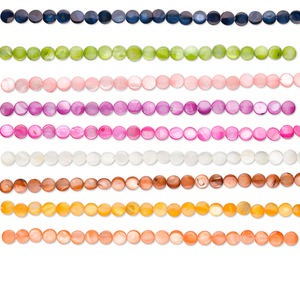 bead, mother-of-pearl shell (bleached / dyed), assorted colors, 10mm flat round, mohs hardness 3-1/2. sold per pkg of (10) 16-inch strands.