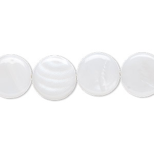 bead, mother-of-pearl shell (bleached), white, 12mm flat round, mohs hardness 3-1/2. sold per 16-inch strand.
