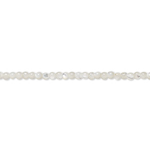 bead, mother-of-pearl shell (bleached), white, 2mm round, mohs hardness 3-1/2. sold per 16-inch strand.