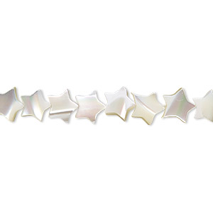 bead, mother-of-pearl shell (bleached), white, 7x7mm star, mohs hardness 3-1/2. sold per 16-inch strand.