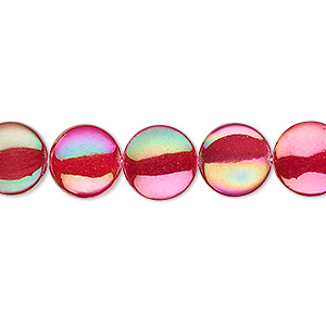 bead, mother-of-pearl shell (dyed / coated), red, 10mm flat round. sold per 15-inch strand.