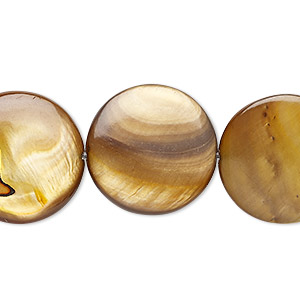 bead, mother-of-pearl shell (dyed), golden olive, 19-20mm flat round, mohs hardness 3-1/2. sold per 15-inch strand.