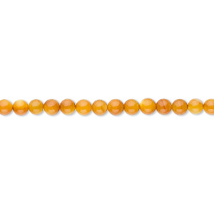 bead, mother-of-pearl shell (dyed), light amber yellow, 3mm round. sold per 16-inch strand.