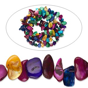 bead, mother-of-pearl shell (dyed), multicolored, large chip, mohs hardness 3-1/2. sold per 34-inch strand.