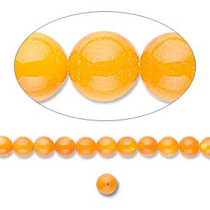 bead, mother-of-pearl shell (dyed), orange, 4mm round. sold per 16-inch strand.