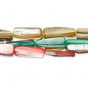 bead, mother-of-pearl shell (dyed), pink / green / yellow, 15x5mm-16x9mm rectangular tube, mohs hardness 3-1/2. sold per pkg of (3) 16-inch strands.