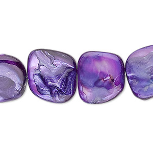 bead, mother-of-pearl shell (dyed), purple, small to medium nugget, mohs hardness 3-1/2. sold per 16-inch strand.