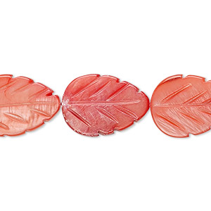 bead, mother-of-pearl shell (dyed), red, 18x13mm carved leaf, mohs hardness 3-1/2. sold per 15-inch strand.