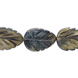 bead, mother-of-pearl shell (dyed), steel blue, 18x13mm carved leaf, mohs hardness 3-1/2. sold per 15-inch strand.
