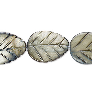 bead, mother-of-pearl shell (dyed), steel blue, 20x15mm carved leaf, mohs hardness 3-1/2. sold per 15-inch strand.