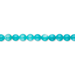 bead, mother-of-pearl shell (dyed), turquoise blue, 4mm round. sold per 16-inch strand.
