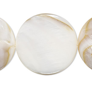 bead, mother-of-pearl shell (natural / bleached), white, 29-30mm flat round, mohs hardness 3-1/2. sold per 15-inch strand.