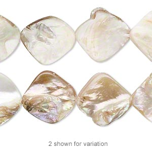bead, mother-of-pearl shell (natural), 15x13mm-23x21mm irregular diamond with 0.8-0.9mm hole, mohs hardness 3-1/2. sold per pkg of (2) 16-inch strands.