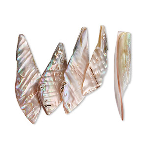 bead, mother-of-pearl shell (natural), 57x17mm-75x28mm top-drilled leaf, mohs hardness 3-1/2. sold per pkg of 5.