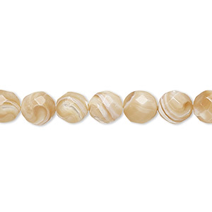 bead, mother-of-pearl shell (natural), 7-8mm faceted round with 0.7mm hole, mohs hardness 3-1/2. sold per 16-inch strand.