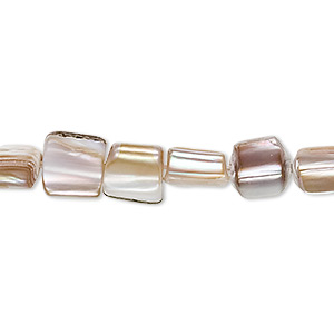 bead, mother-of-pearl shell (natural), 7x6mm triangular rectangle, mohs hardness 3-1/2. sold per 16-inch strand.