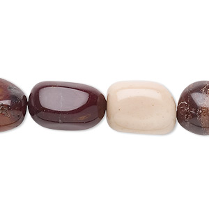 bead, moukaite jasper (natural), medium tumbled nugget, mohs hardness 6-1/2 to 7. sold per 16-inch strand.