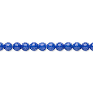 bead, mountain jade (dyed), lapis blue, 4mm round, b grade, mohs hardness 3. sold per 16-inch strand.
