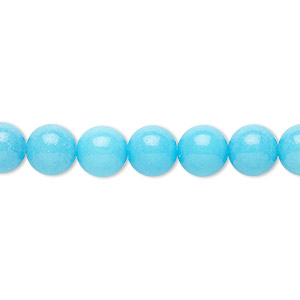 bead, mountain jade (dyed), opaque light blue, 8mm round, b grade, mohs hardness 3. sold per 16-inch strand.