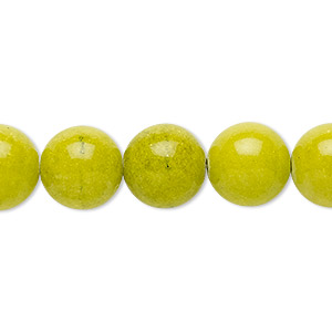 bead, mountain jade (dyed), opaque light green, 12mm round, b grade, mohs hardness 3. sold per 16-inch strand.