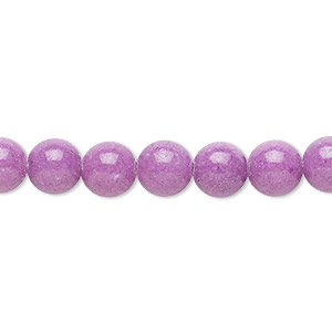 bead, mountain jade (dyed), opaque light purple, 8mm round, b grade, mohs hardness 3. sold per 16-inch strand.
