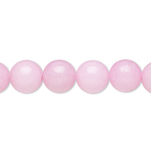 bead, mountain jade (dyed), opaque pink, 10mm round, b grade, mohs hardness 3. sold per 16-inch strand.