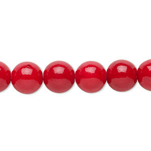 bead, mountain jade (dyed), opaque rose red, 10mm round, b grade, mohs hardness 3. sold per 16-inch strand.