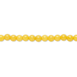 bead, mountain jade (dyed), opaque yellow, 4mm round, b grade, mohs hardness 3. sold per 16-inch strand.