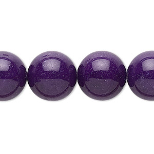 bead, mountain jade (dyed), purple, 14mm round, b grade, mohs hardness 3. sold per 16-inch strand.