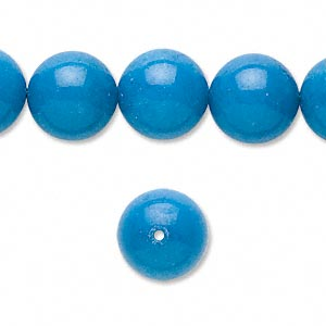 bead, mountain jade (dyed), turquoise blue, 12mm round, b grade, mohs hardness 3. sold per pkg of (2) 16-inch strands.