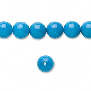 bead, mountain jade (dyed), turquoise blue, 8mm round, b grade, mohs hardness 3. sold per pkg of (2) 16-inch strands.