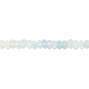 bead, multi-aquamarine (dyed / heated), 4x2mm-4x3mm hand-cut rondelle, d grade, mohs hardness 7-1/2 to 8. sold per 14-inch strand.