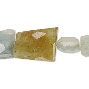 bead, multi-beryl (heated), small to large hand-cut faceted nugget, c- grade, mohs hardness 7-1/2 to 8. sold per 7-inch strand.