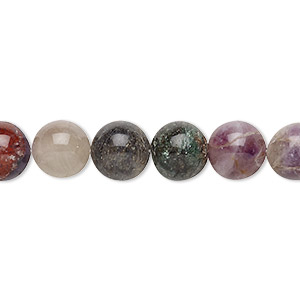 bead, multi-gemstone and glass (natural / dyed / heated / irradiated / man-made), 8-10mm hand-cut round, c grade, mohs hardness 3 to 7. sold per 12-inch strand.