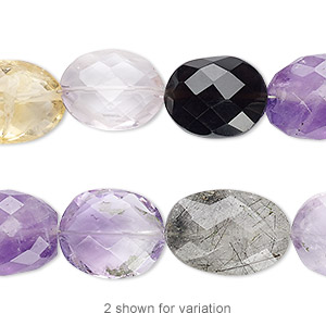 bead, multi-gemstone (natural / dyed / heated / irradiated), 13x10mm-17x13mm hand-cut faceted puffed oval, c grade, mohs hardness 3 to 7. sold per 7-inch strand.
